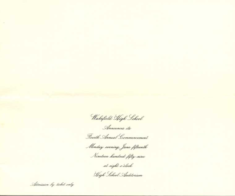 Wakefield High School 1959 Graduation Announcement - Inside